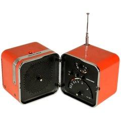 Orange Cubo Brionvega Radio TS 502 Designer Zanuso & Sapper, Milano, 1964