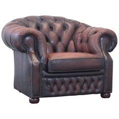 Centurion Chesterfield Leather Armchair Brown One seat Couch Retro Vintage