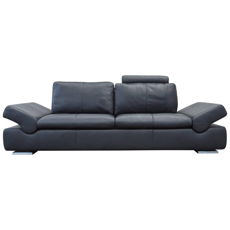 musterring linea designer leather sofa black three seat couch function modern at 1stdibs. Black Bedroom Furniture Sets. Home Design Ideas