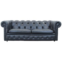 Springvale Chesterfield Sofa Black Leather Two-Seat Couch Vintage Retro