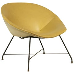 Armchair by Augusto Bozzi for Saporiti Metal Brass Leatherette Vintage, Italy