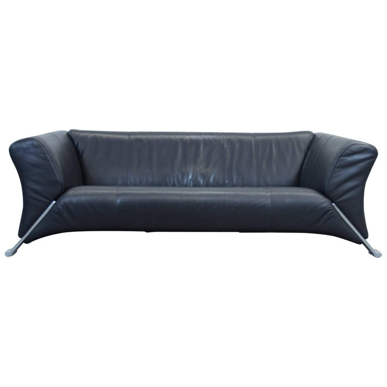 Rolf Benz 322 Designer Leather Sofa Black Three Seat Couch