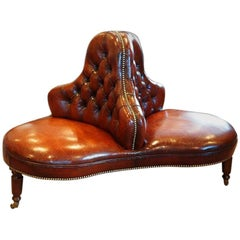 Victorian Leather Conversation Seat