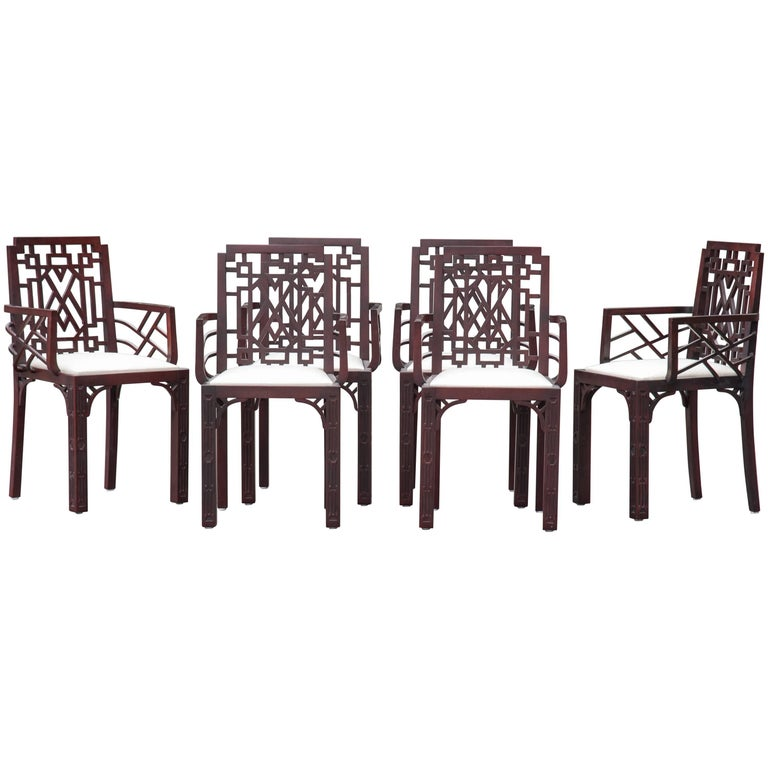 Set of Six Gorgeous Chinese Chippendale Style Fretwork Dining Chairs