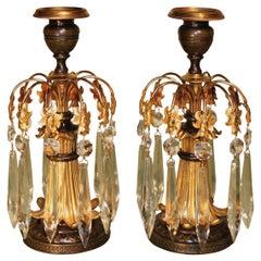 19th Century bronze and ormolu lustre candlesticks