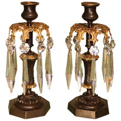 Antique Pair of Bronze and Ormolu Lustre Candlesticks