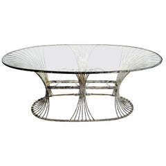 Rare Art Deco Garden Table Zinc and Glass