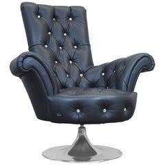 Bretz Pompadour Designer Leather Swivel Chair Black Swarovski Chesterfield