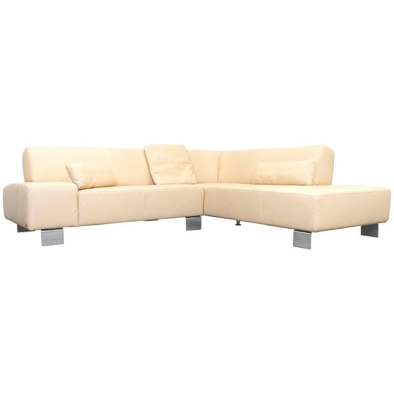 musterring designer corner sofa beige leather couch modern. Black Bedroom Furniture Sets. Home Design Ideas