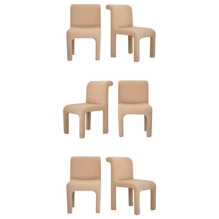Set of six post modern sculptural upholstered dining for Upholstered dining chairs for sale
