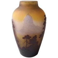Emile Galle Art Nouveau Cameo Matterhorn Vase, Signed, circa 1900