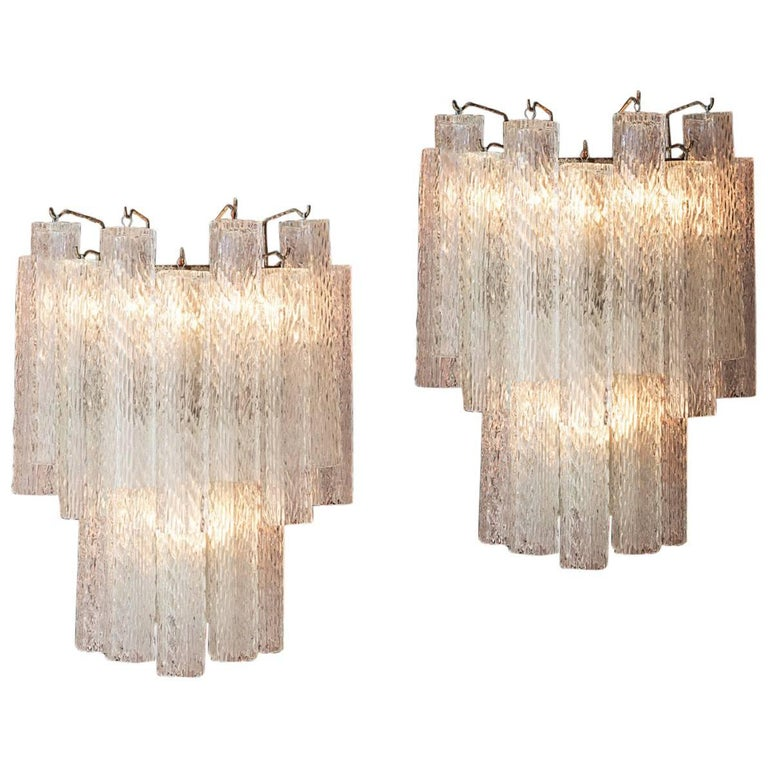 Italian 1950s Glass Wall Sconces For Sale
