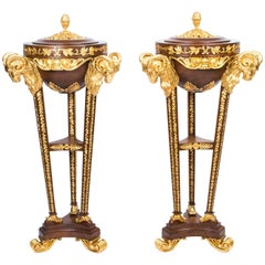 Pair of Mahogany and Giltwood Rams Head Pedestals in Adams Style