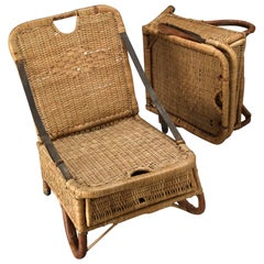 Rare Beach Seats in Cane with Leather Handles, Holland End of 19th Century