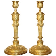 Pair of Empire Gilt Bronze Candlesticks