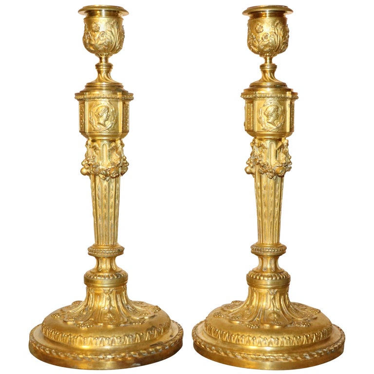 Pair of Empire Gilt Bronze Candlesticks