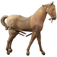 Rare Horse in Metal with a Folding System, France, 19th Century