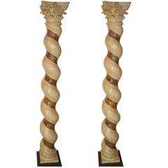 Pair of 17th Century Pietra Dura Marble Pillars