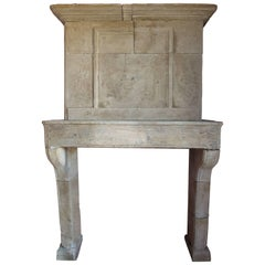17th Century Louis XIII Fireplace with Trumeau in Stone, Provence, France