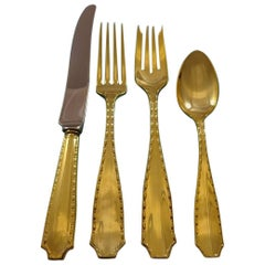 Marquise Gold by Tiffany and Co. Sterling Silver Flatware Set Service Vermeil