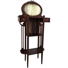 1920s Art Deco Vinyl Cabinet Vanity in Mahogany