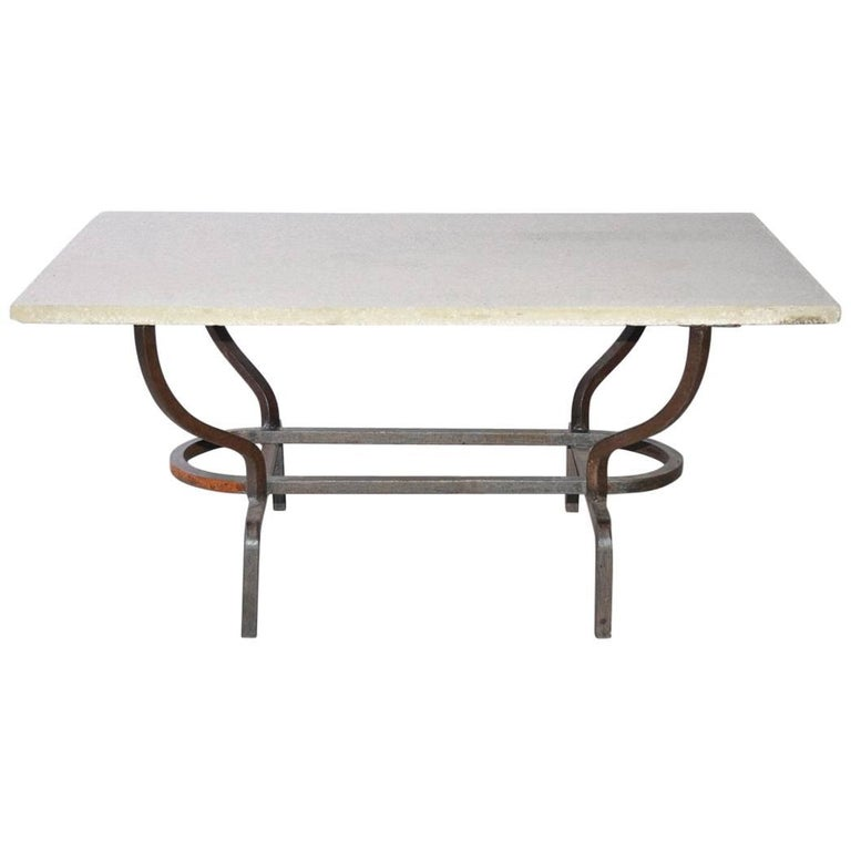 Contemporary Coffee Table with Stone Top and Wrought Iron Base 1