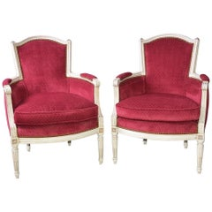 Pair of Vintage Louis XVI-Style Bergere Chairs