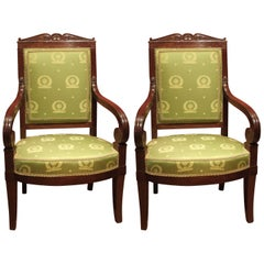 George Jacob 18th Century Pair of Mahogany and Green Silk Upholstered Armchairs