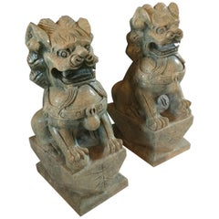 Magnificent Pair of Heavy Jade Foo Dog Sculptures