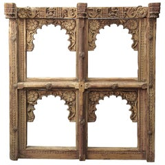 Window Frame in Teak Wood Very Delicately Carved, India, 18th Century