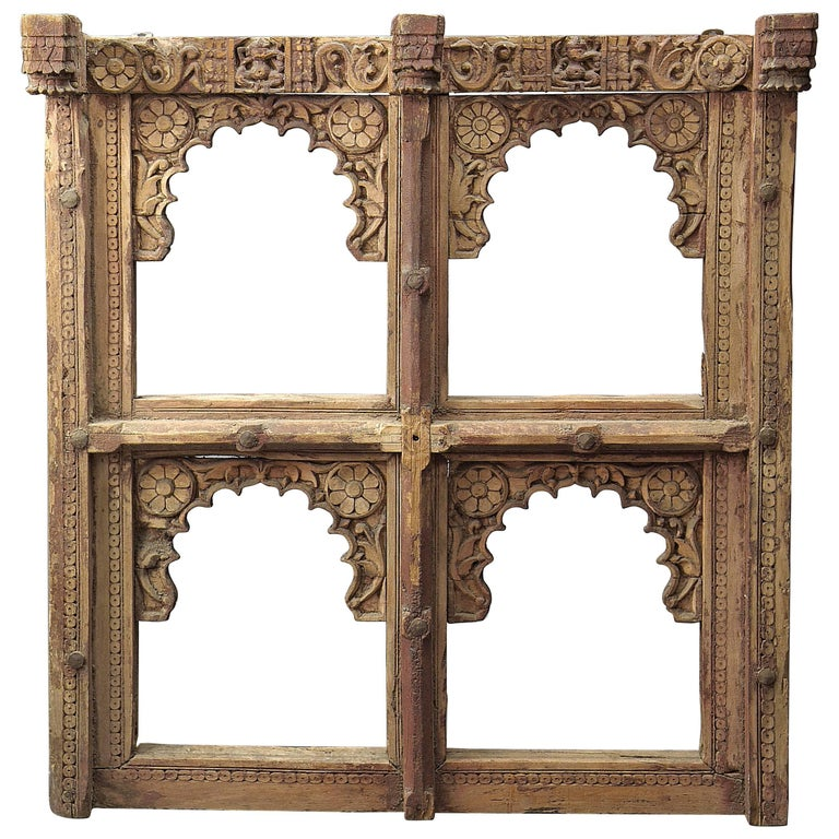 Window frame in teak wood very delicately carved india for 18th century window
