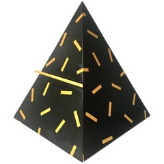 Black Pyramid Jewelry Box in Lacquer Wood Signed, 1990