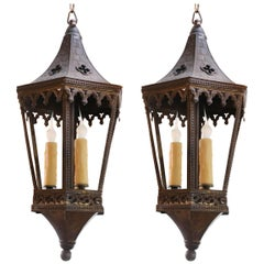 Near-Pair of Antique Brass Neo-Gothic Lanterns from France, circa 1900