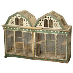 Double Birdcage in Wood Painted Green and Beige, France 18th Century