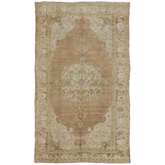 Brown and Ivory Vintage Turkish Rug with Flowers and Elegant Medallion