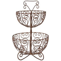 Two-Tier French Wrought Iron Fruit Basket