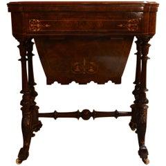 Antique English Burled Walnut Games Table