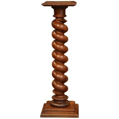 19th Century French Carved Walnut Barley Twist Pedestal with Square Top and Base