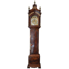 Antique English George III Flame Mahogany Tall Case Clock by Peter Pohlman