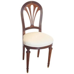 French Art Deco Upholstered Side Chair in Mahogany, circa 1920