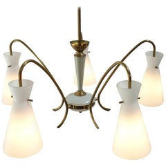 Pendant Lamp with Five 'Milk' White Glass Shades Mid-Century Modern