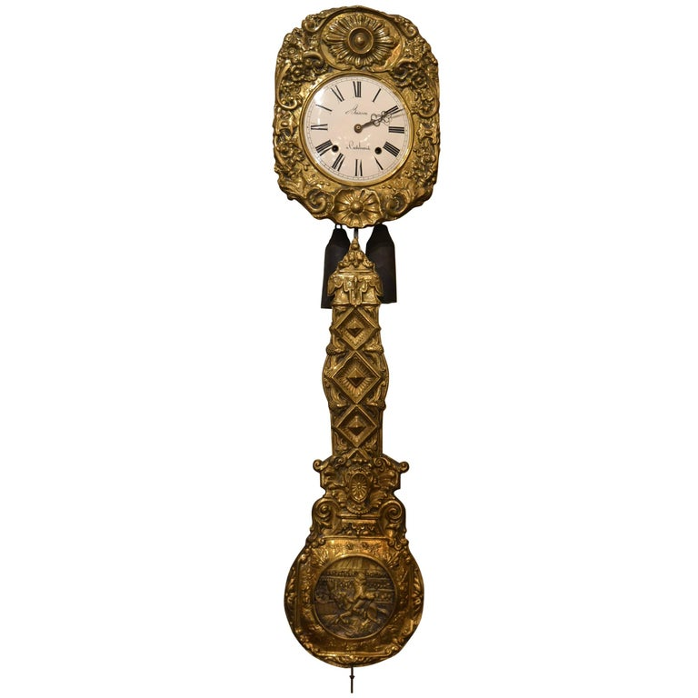 Antique 19th Century Brass Wag On The Wall Clock For