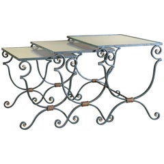Set of Three French Iron Nesting Tables with Mirrored Tops, circa 1940