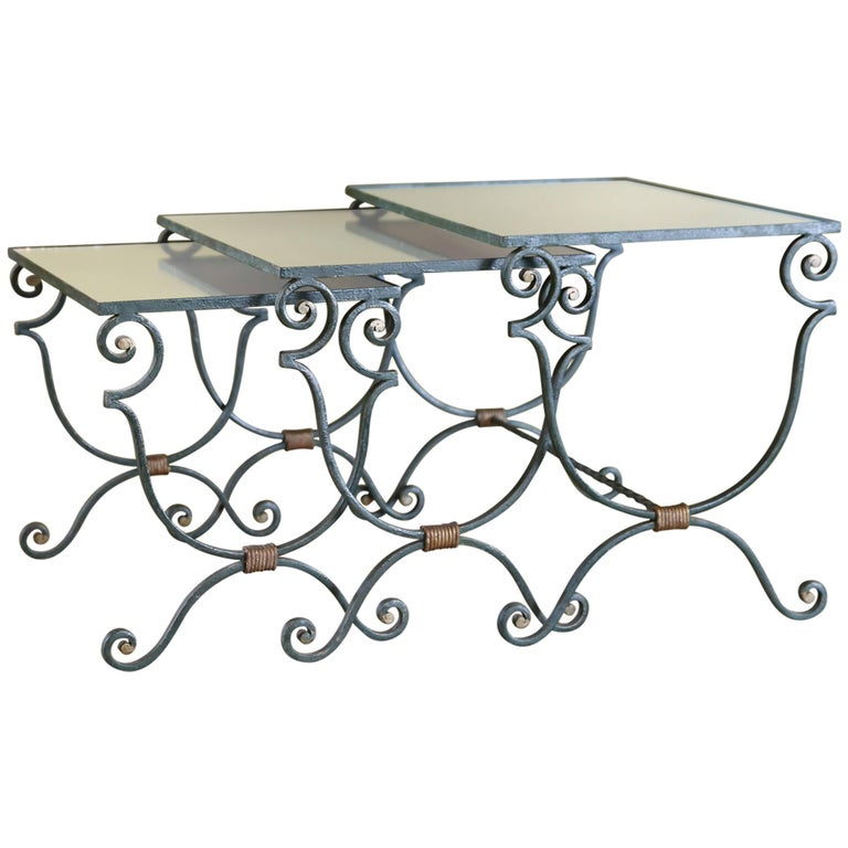 Set of Three French Iron Nesting Tables with Mirrored Tops, circa 1940 1