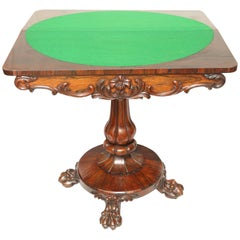 19th Century William IV Rosewood Game Card Table