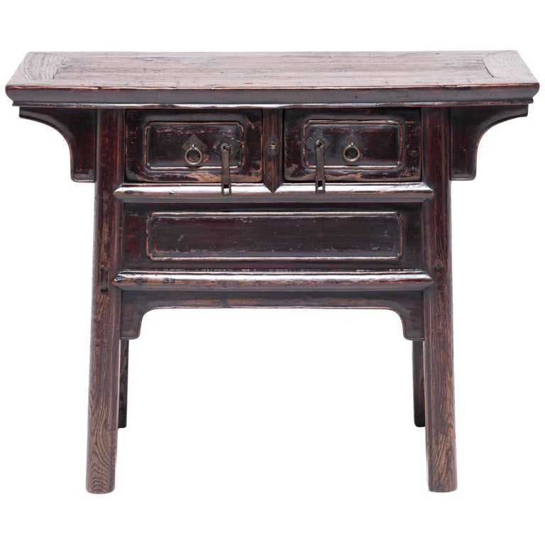 Chinese Tapered Two-Drawer Chest For Sale