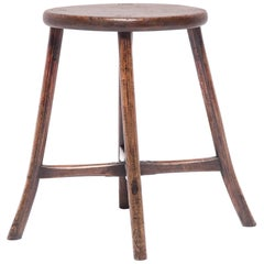 Chinese Provincial Oval Stool with Flared Legs
