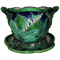 Minton Jardinière Stand Majolica England Ferns Hollyhocks Morning Glorie Planter