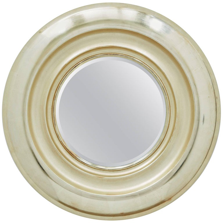 Degas Tondo No. 1 Circular Wall Mirror, Gilded in Pale Gold by Bark Frameworks For Sale
