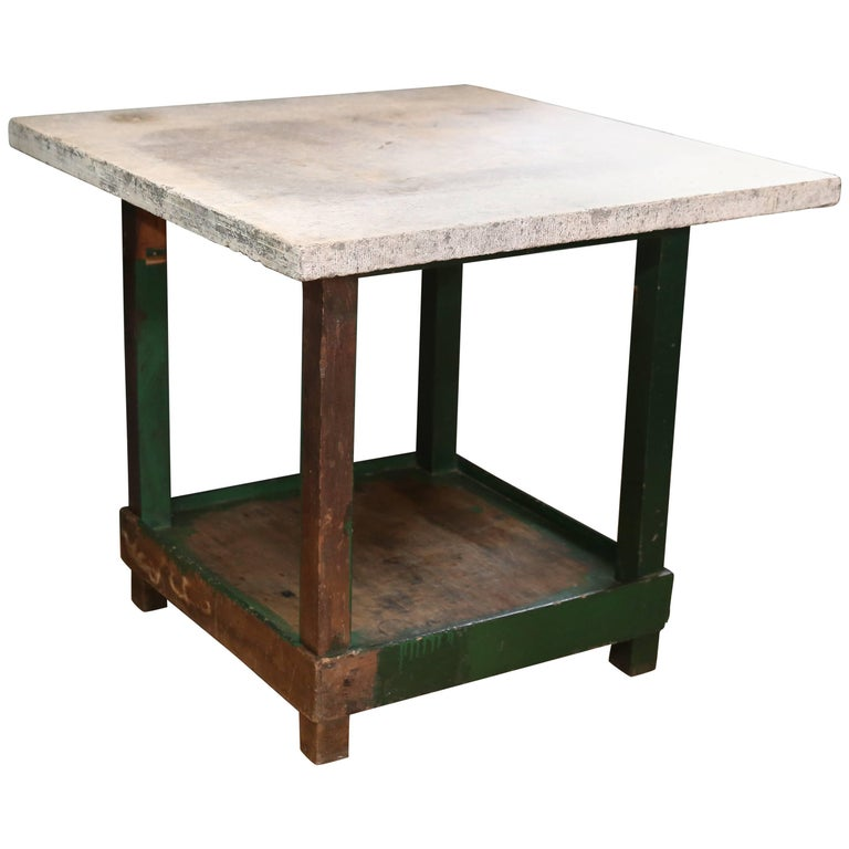 Tall Industrial Green Work Table with Bluestone Top from Belgium, circa 1940 1
